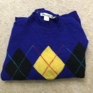 ✨ VTG GAP Argyle Sweater 100% Pure Wool Blue Knit